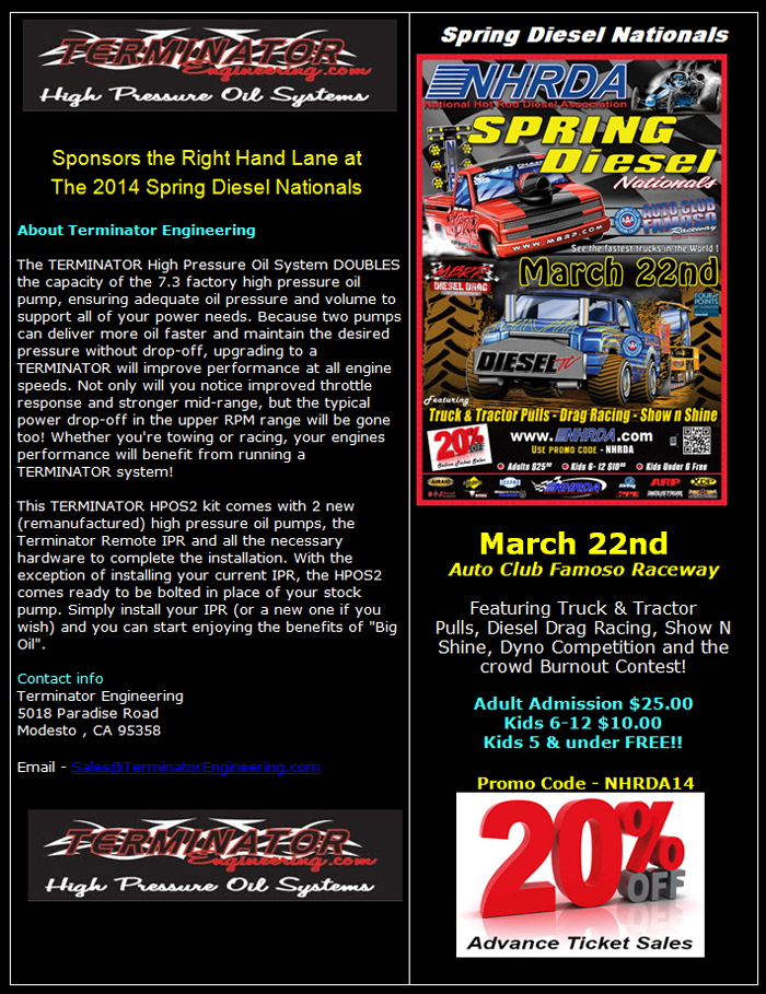 Terminator Engineering Sponsors Right Lane At 2014 Spring Diesel Nationals